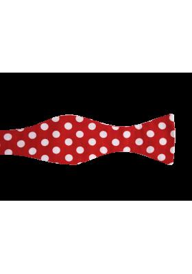 Červený pánský motýlek s velkými puntíky