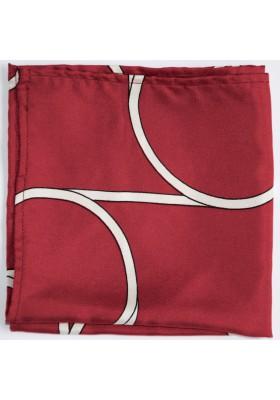 Tmavě červený kapesníček s bílým vzorem