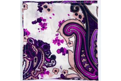 Bílý kapsníček s fialovým vzorem